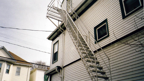 Fire escapes, MA, RI, wrought iron fire escapes, custom wrought iron exterior stairs, iron fire escape