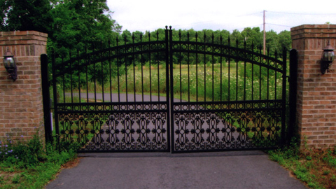 Ornamental wrought iron entry gates, custom iron security gates, iron estate gates, driveway entry gates, MA, RI