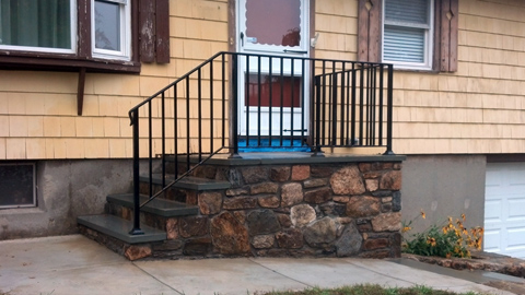 Wrought iron railings, MA, RI, custom ornamental exterior ironwork, custom iron staircases, balconies, outdoor railings