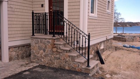 Wrought iron railings, MA, RI, custom ornamental exterior ironwork, custom iron balconies, outdoor hand railings