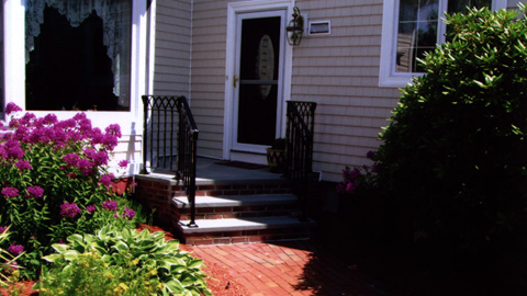 Ornamental wrought iron railings, MA, RI, custom  exterior ironwork, custom iron balconies, outdoor staircases, hand rails